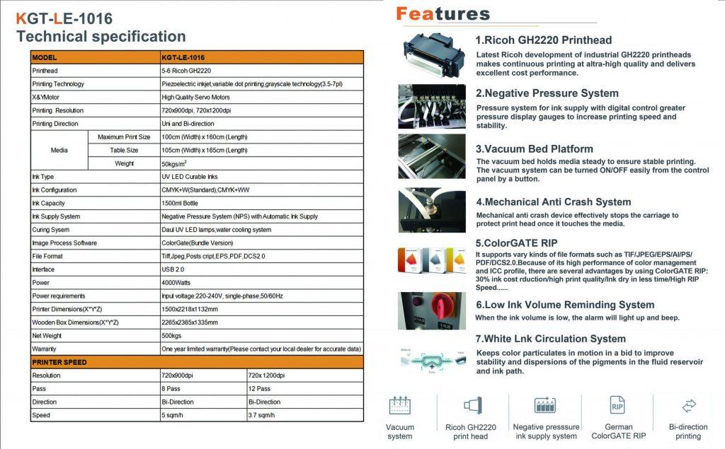 Specifikacije UV štampača KGT LE 1016