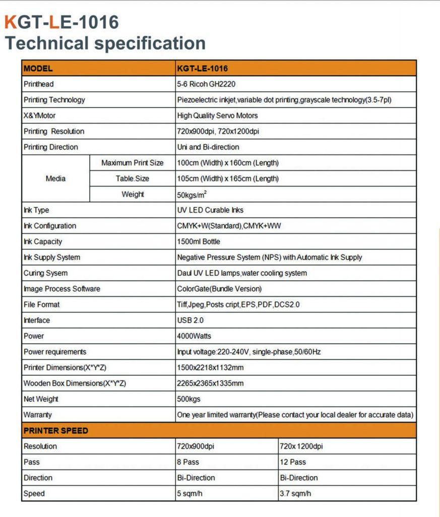 Specifikacije uv štampača