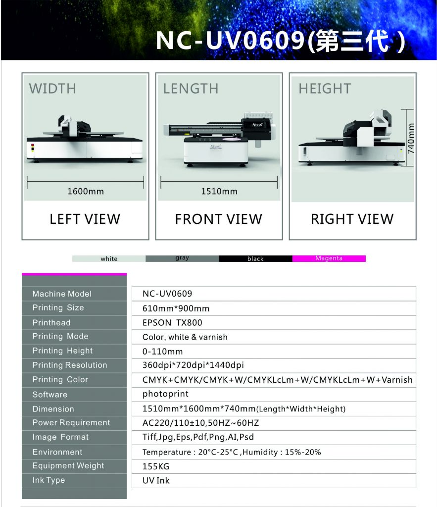 UV štampač printer radne površine 60x90cm lak, bela boj sa dve epson glave