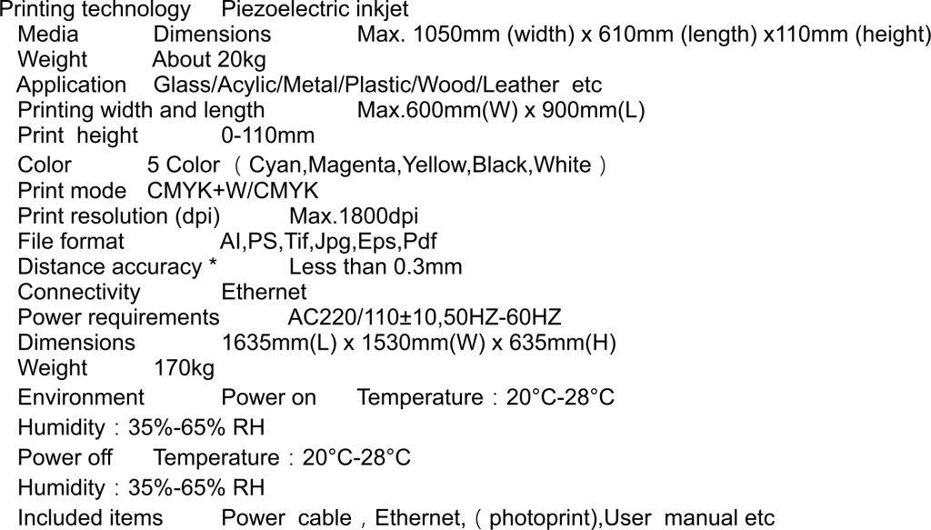 Specifikacija UV printera Nocai, stampac
