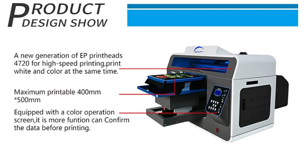 DTG printer sa novom EP glavom za brzu stampu i sa belom bojom u isto vreme. Maksimalna stampa 40x50cm. Opremljen sa kolor ekranom i potvrdom pre stampanja.