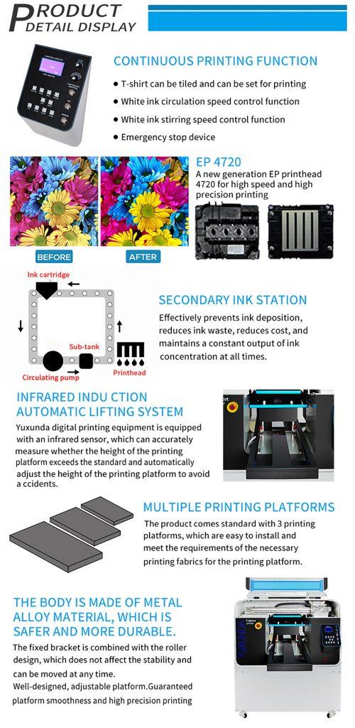 Kvalitetan i štedljiv DTG printer sa EP glavom štampača. EP 4720 glava. Smanjena i štedljiva bojna sekundarna jedinica, infra crveni zraci regulišu podešavanje radne visine, više različitih radnih površina,